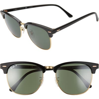Ray-Ban Clubmaster 55Mm Polarized Sunglasses - Black