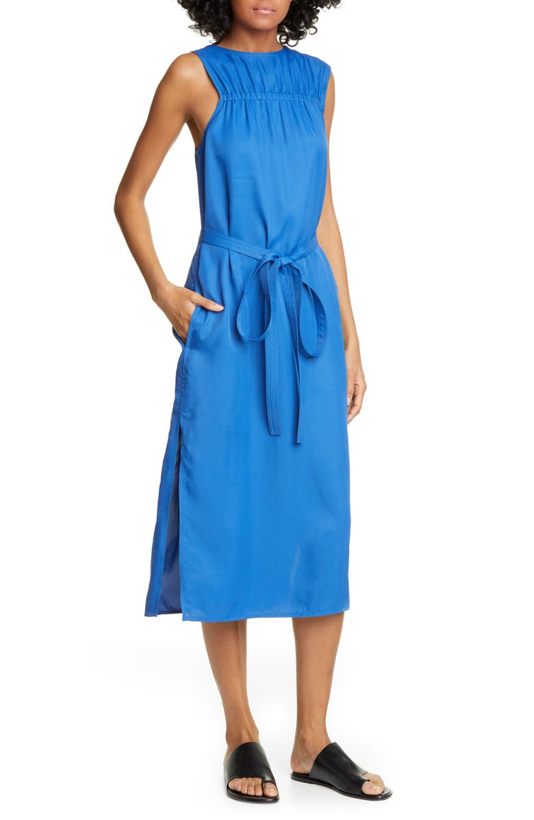 HELMUT LANG Sleeveless Woven Dress, Main, color, COBALT