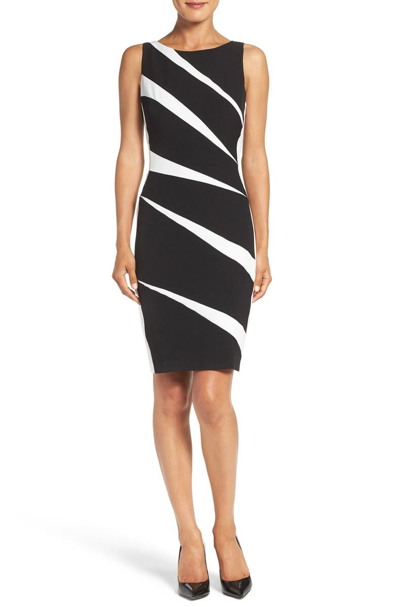 ADRIANNA PAPELL Crepe Sheath Dress, Main, color, 010