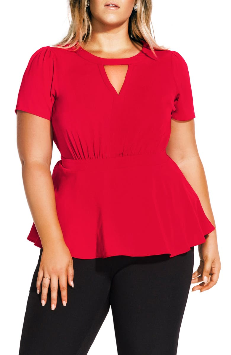 CITY CHIC Imperial Peplum Top, Main, color, DOLCE RED