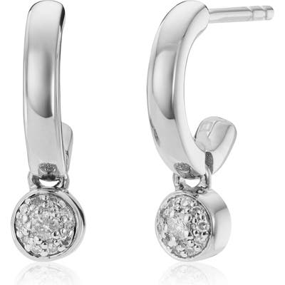 Monica Vinader Fiji Tiny Button Diamond Huggie Hoop Earrings