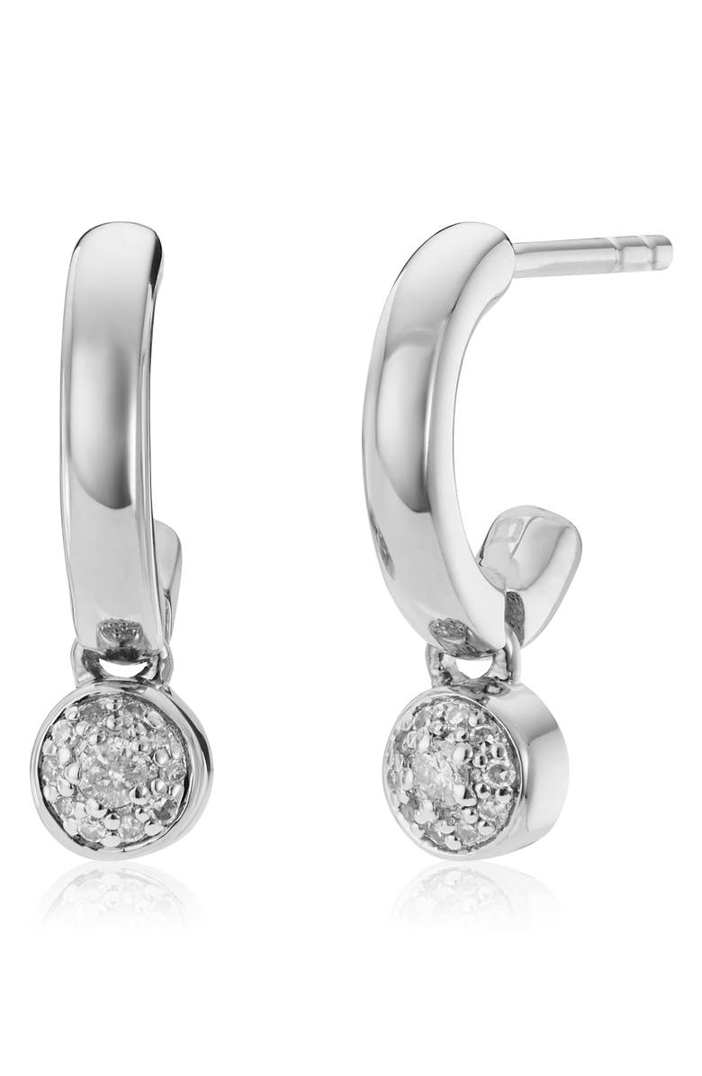 MONICA VINADER Fiji Tiny Button Diamond Huggie Hoop Earrings, Main, color, SILVER