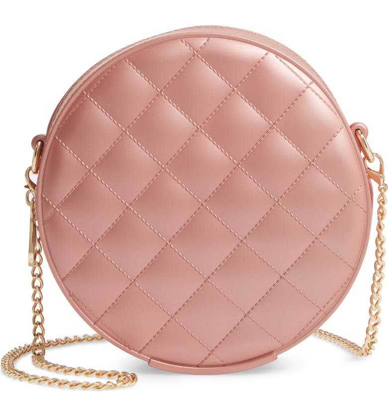 BP. Round Jelly Quilted Crossbody Bag, Main, color, ROSE GOLD