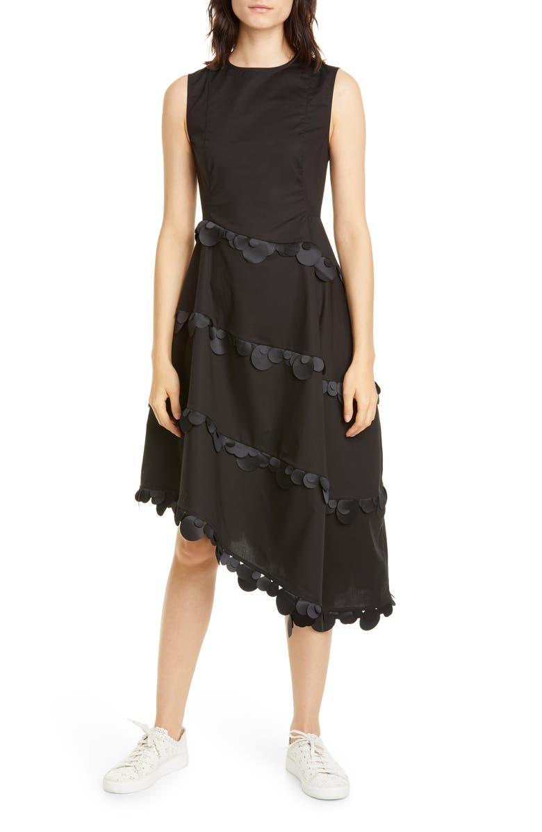PASKAL Dot Trim Asymmetrical Fit & Flare Dress, Main, color, BLACK