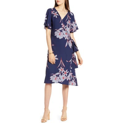 Petite Halogen Wrap Dress, Blue