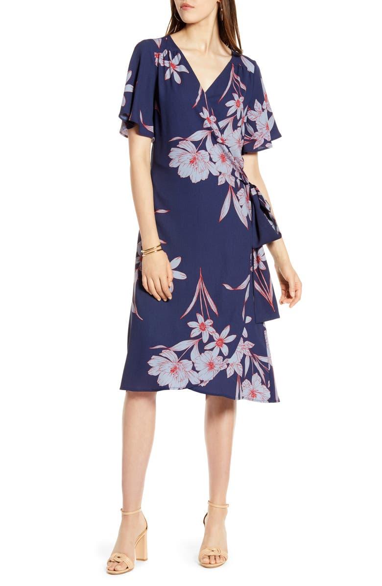 HALOGEN<SUP>®</SUP> Wrap Dress, Main, color, NAVY- BLUE FLORAL