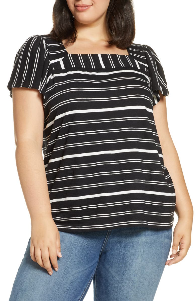 VINCE CAMUTO Waterline Square Neck Top, Main, color, 001