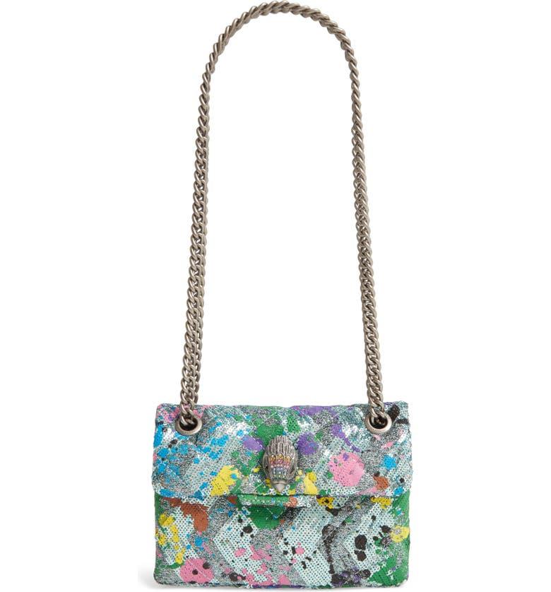 KURT GEIGER LONDON Mini Kensington Glitter Crossbody Bag, Main, color, BLUE