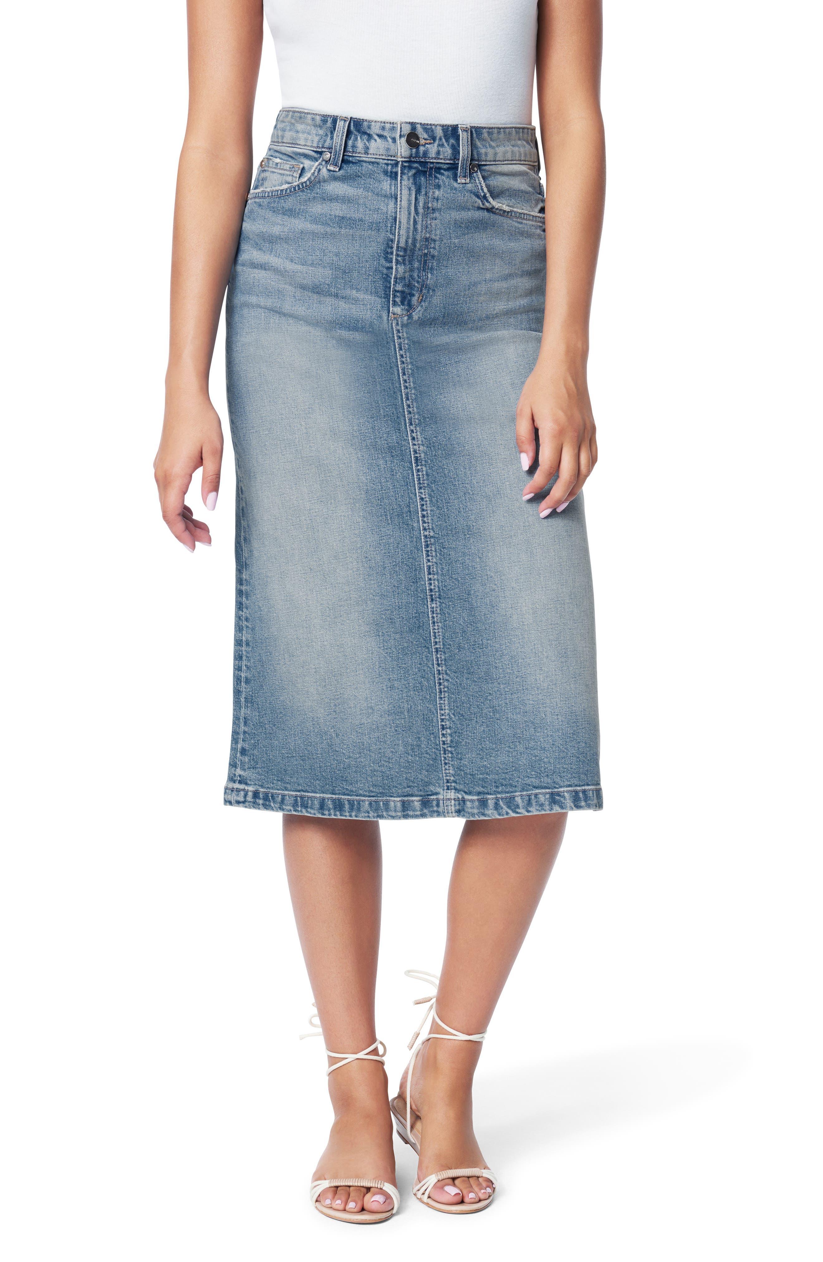 The A-Line Cutoff Denim Pencil Skirt