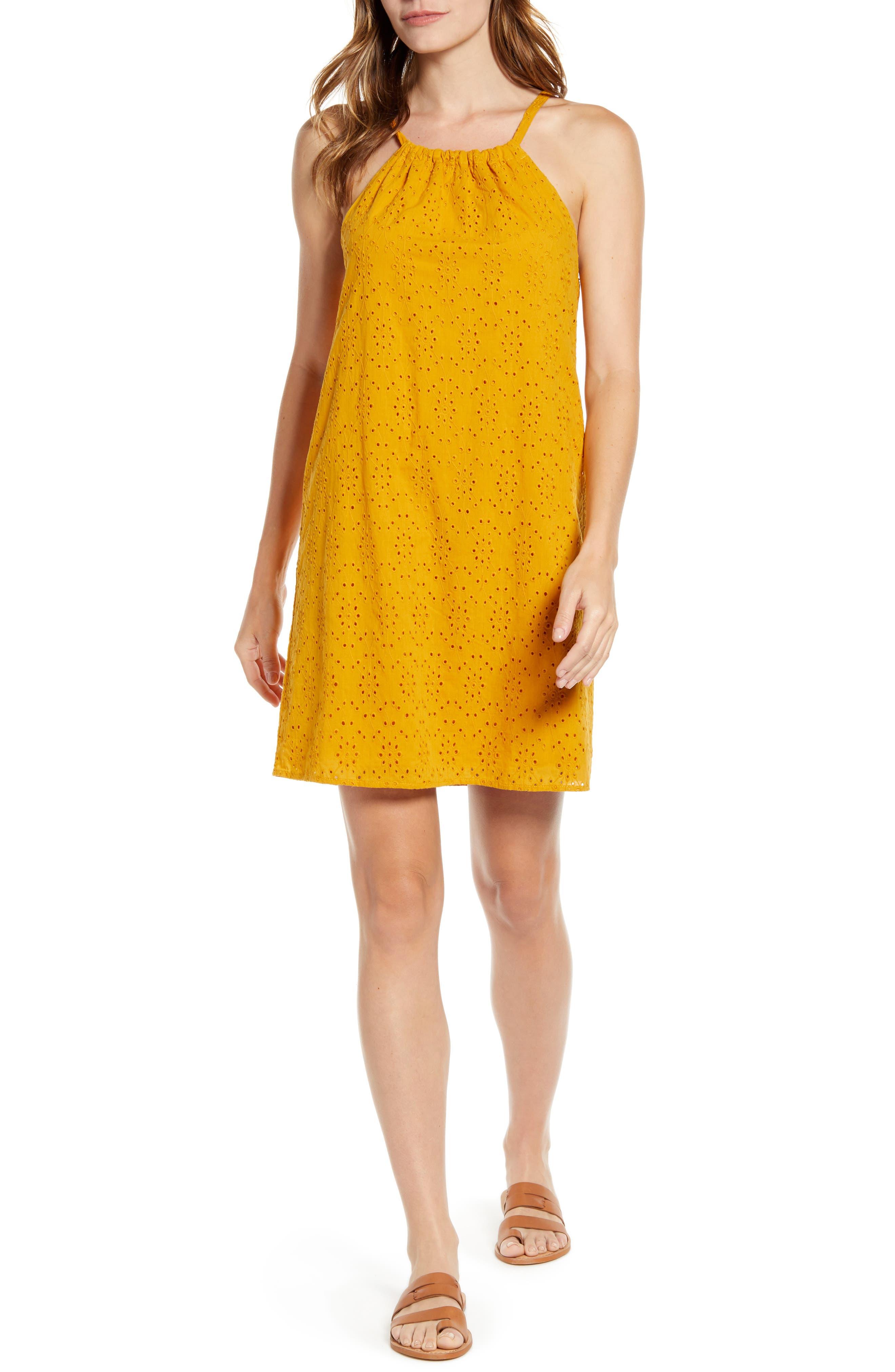 Petite Gibson X Hot Summer Nights Two Peas Eyelet Halter Summer Dress, Yellow (Regular & Petite) (Nordstrom Exclusive)