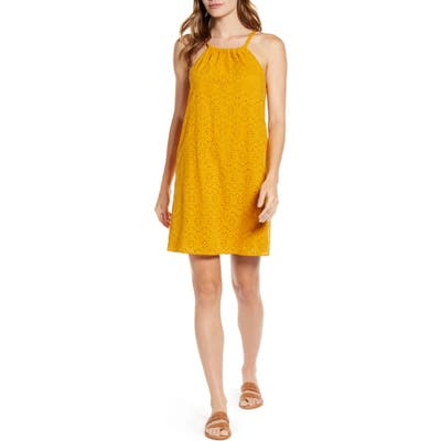 Petite Gibson X Hot Summer Nights Two Peas Eyelet Halter Summer Minidress, Yellow (Regular & Petite) (Nordstrom Exclusive)