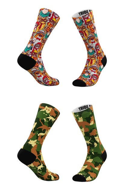 Tribe Socks ASSORTED 2-PACK HIPSTER CATS & CLASSIC CAMO CATS CREW SOCKS