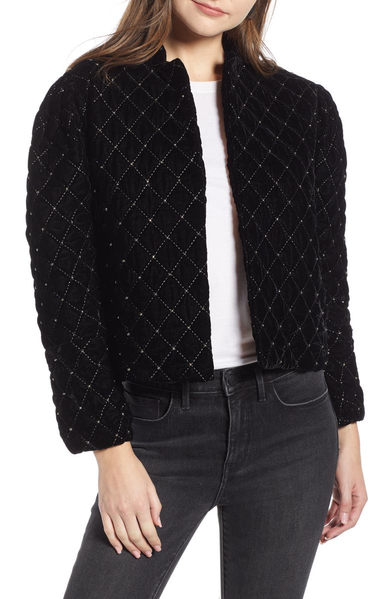SOMETHING NAVY Quilted Velvet Jacket, Main, color, 001