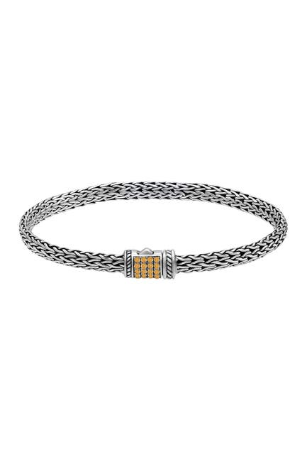 Image of DEVATA Bali Heritage Sterling Silver with Woven Dragon Bone Chain Bracelet Embellished by Citrine