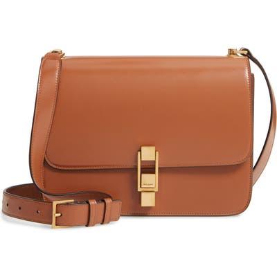 Saint Laurent Carre Calfskin Shoulder Bag - Brown