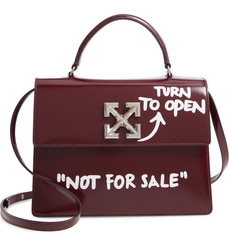 OFF-WHITE Jitney 2.8 Turn to Open Leather Bag, Main, color, BURGUNDY