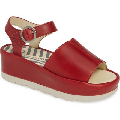 Fly London Bano Platform Sandal - Red