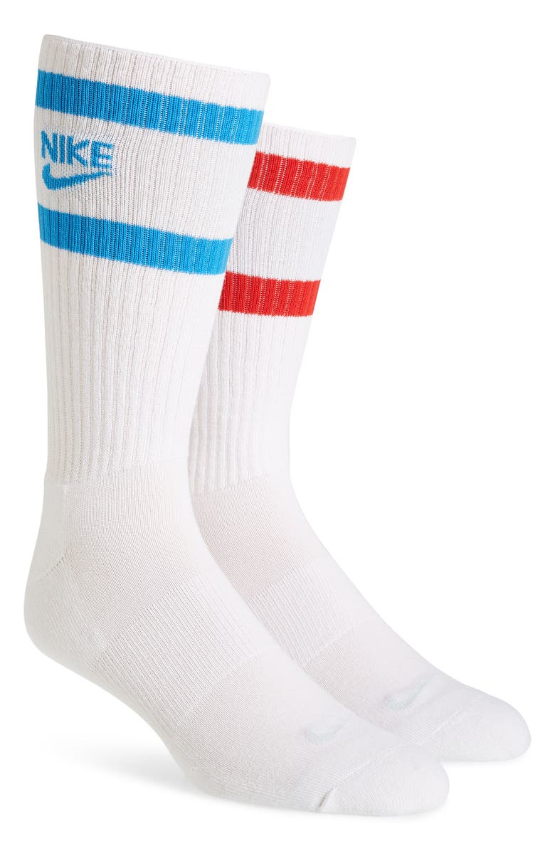 NIKE 3-Pack Cushioned Crew Socks, Main, color, WHITE/ BLUE/ RED/ GREY