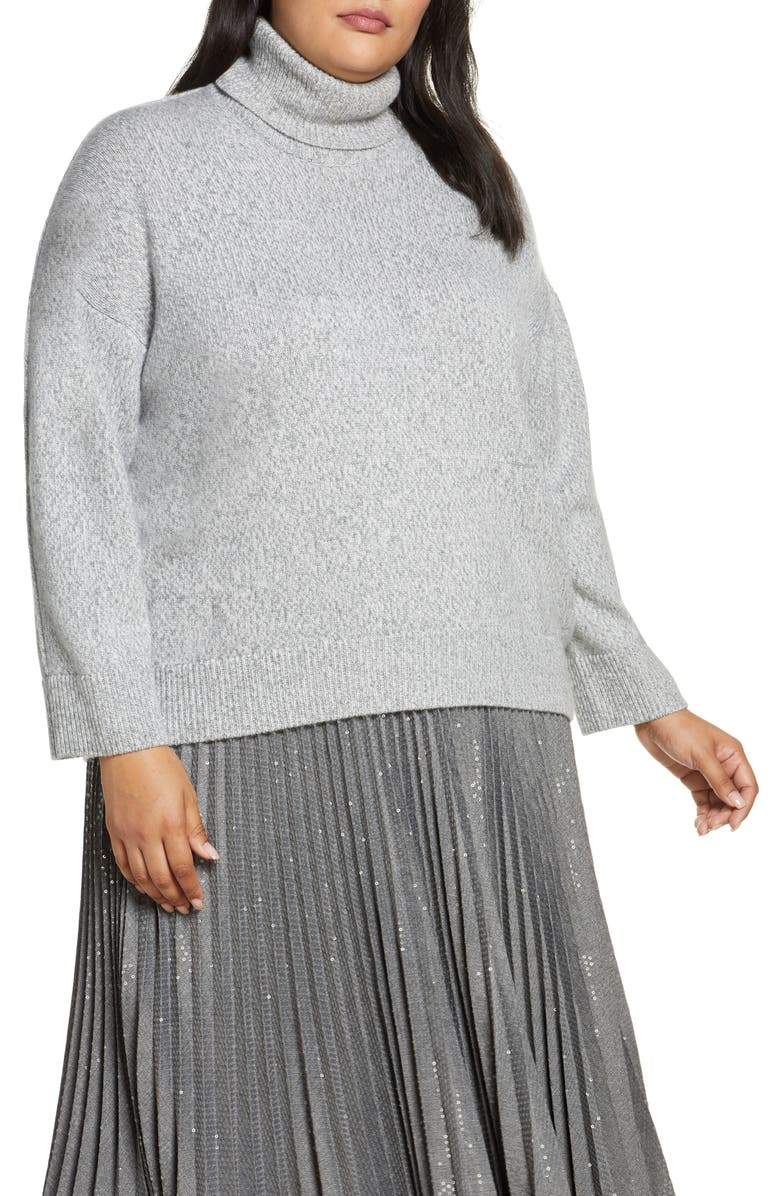 LAFAYETTE 148 NEW YORK Sequin Turtleneck Sweater, Main, color, NICKEL MULTI
