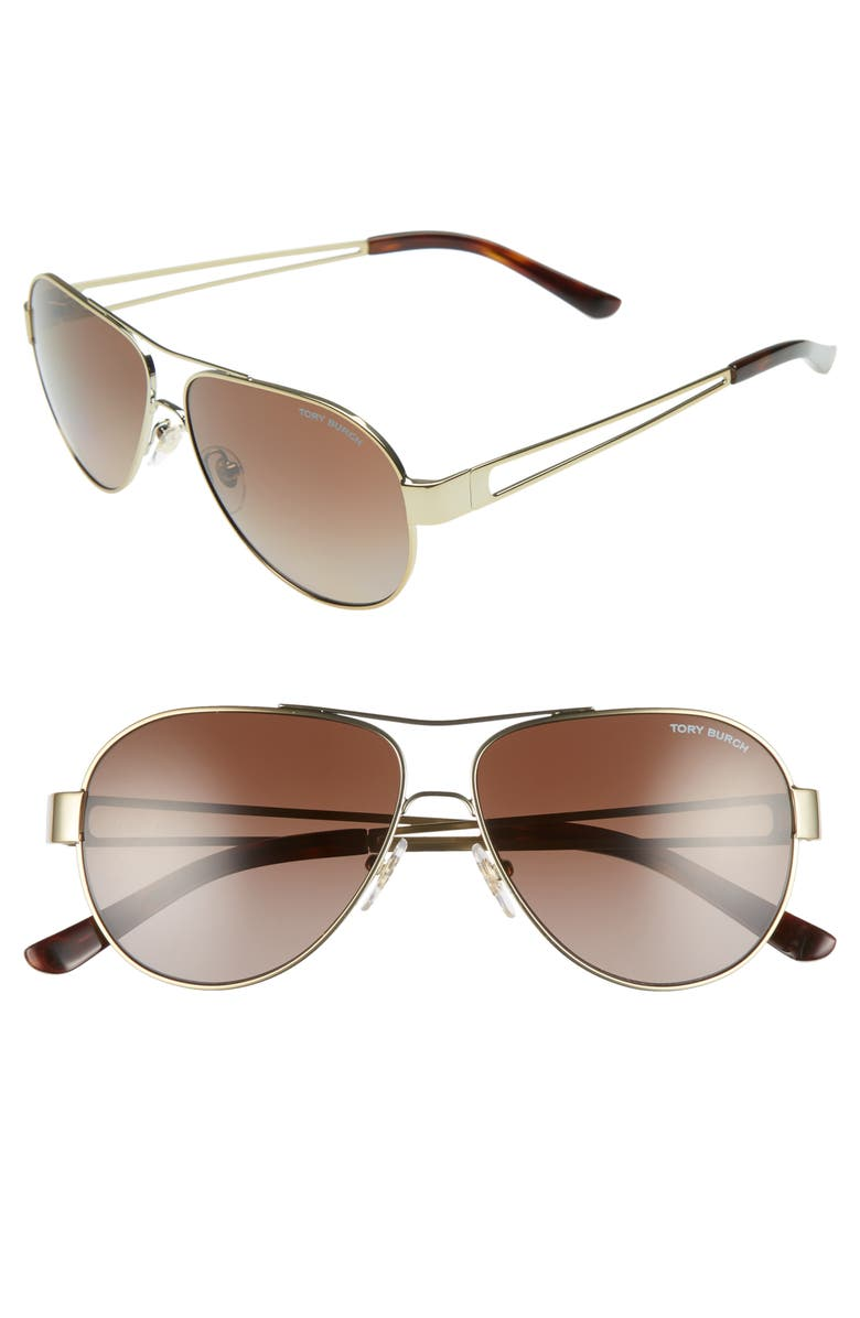 TORY BURCH 55mm Polarized Aviator Sunglasses, Main, color, GOLD/ DARK TORTOISE GRADIENT