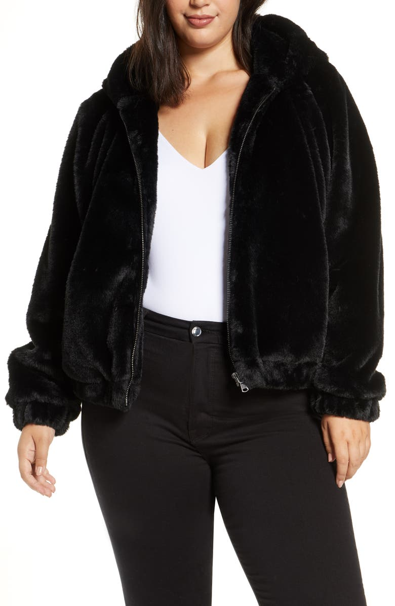 COLDESINA Faux Fur Bomber Jacket, Main, color, 001