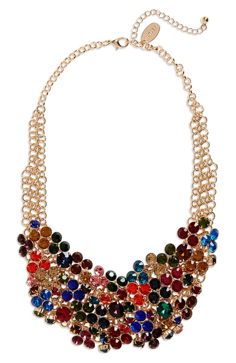 NATASHA COUTURE Natasha Crystal Bib Necklace, Main, color, 710