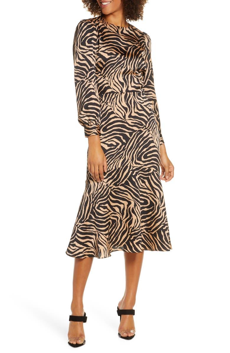 CHELSEA28 Print Long Sleeve Midi Dress, Main, color, ZEBRA