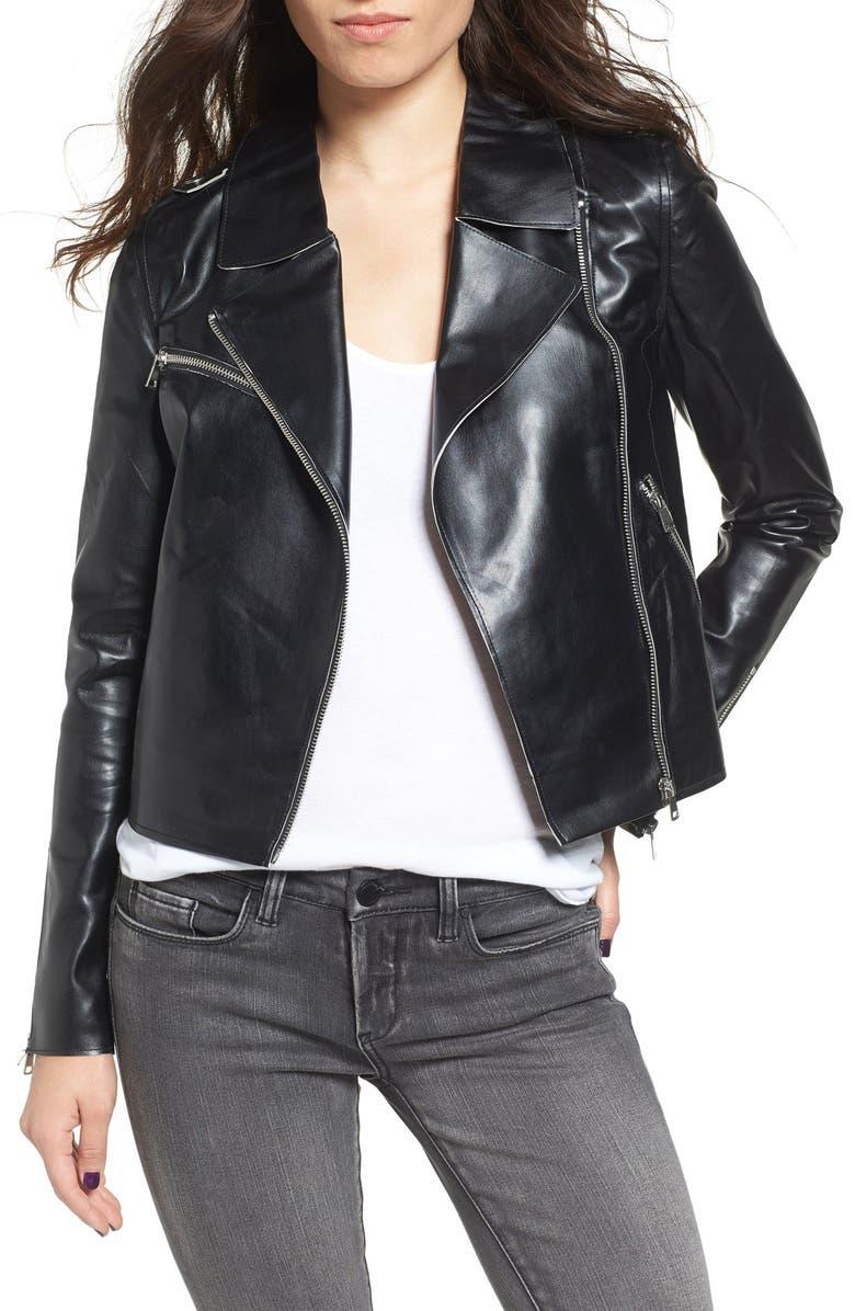 VIGOSS Faux Leather Moto Jacket, Main, color, 001