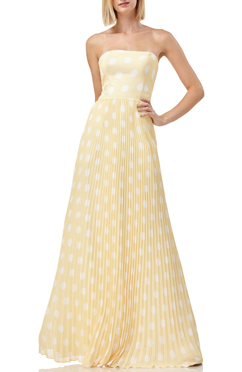 KAY UNGER Strapless Polka Dot Pleated Gown, Main, color, 700