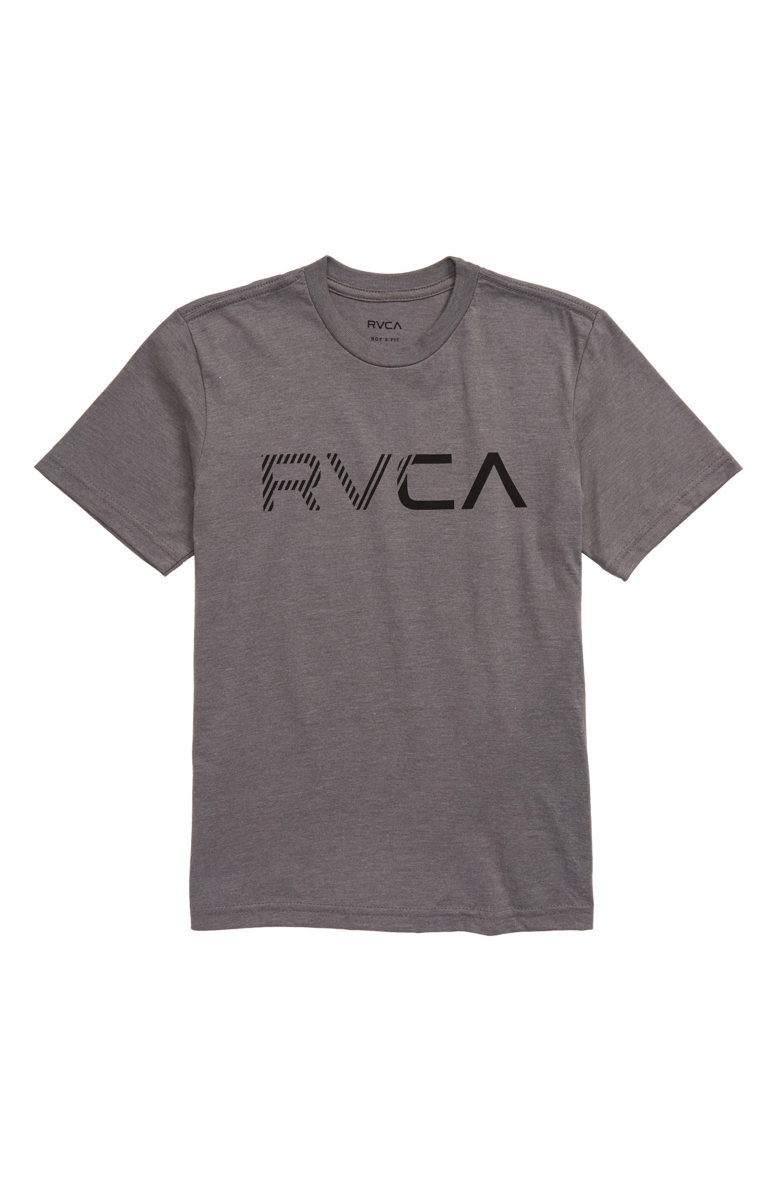 RVCA Boy/'s Big RVCA T-Shirt Grey Noise New White
