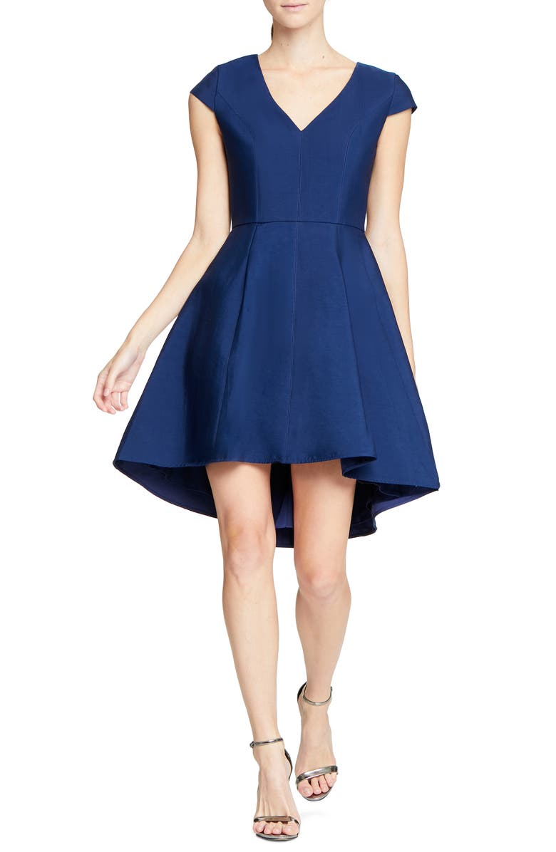 HALSTON HERITAGE High/Low Cocktail Dress, Main, color, NAVY