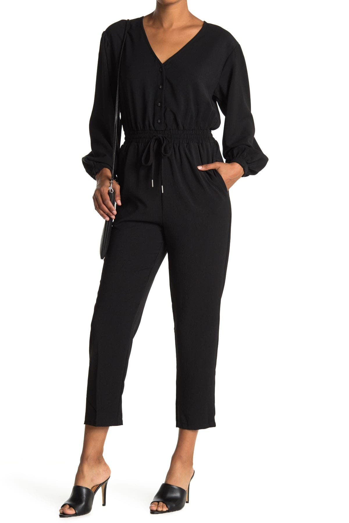 Image of Lush Twill Button Down Jumpsuit
