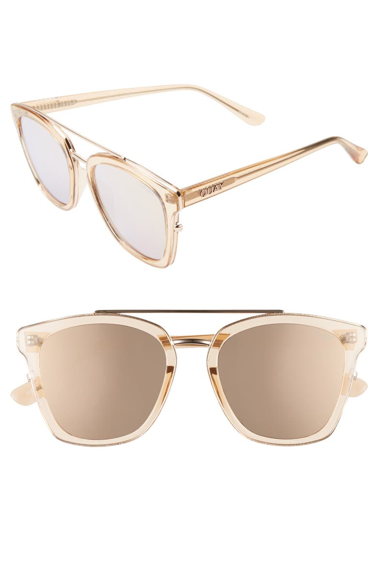 QUAY AUSTRALIA Sweet Dreams 51mm Square Sunglasses, Main, color, CHAMPAGNE/ ROSE