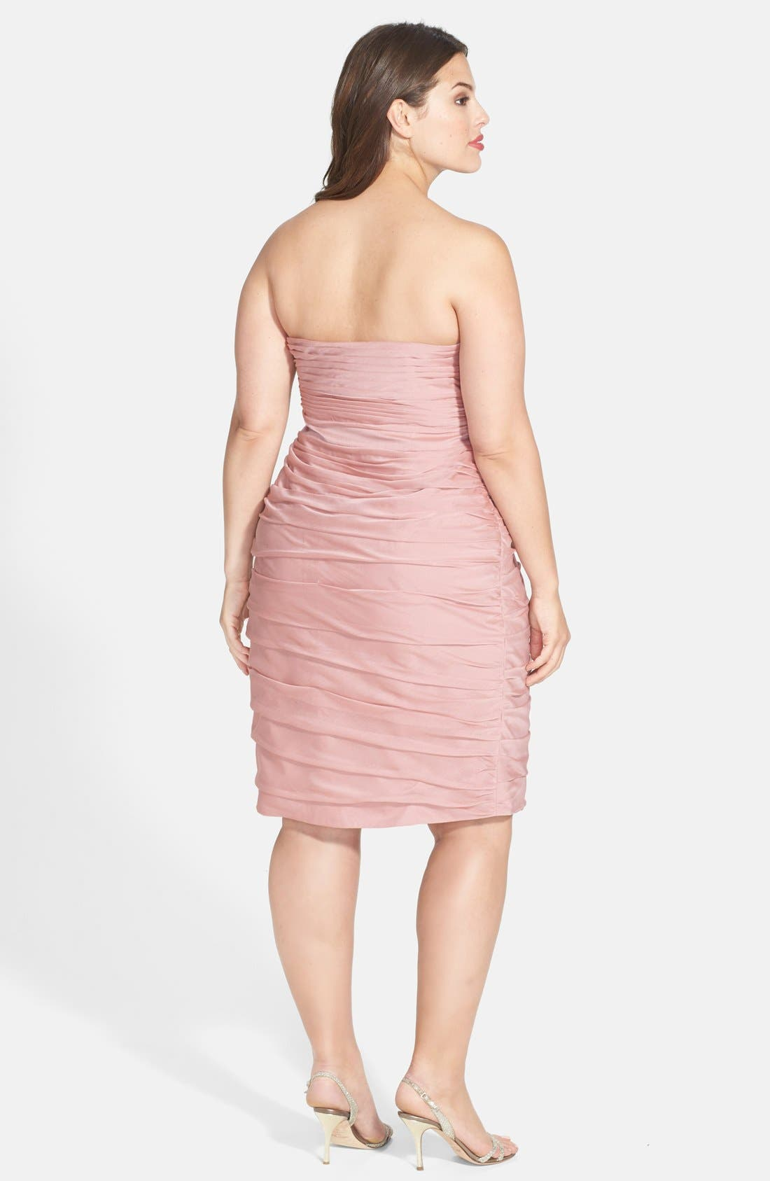,                             Ruched Strapless Cationic Chiffon Dress,                             Alternate thumbnail 66, color,                             697