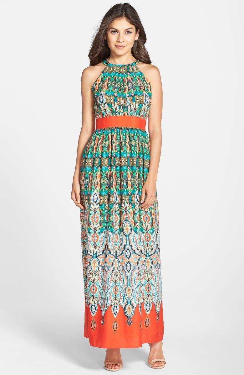ELIZA J Print Crêpe de Chine Maxi Dress, Main, color, 898