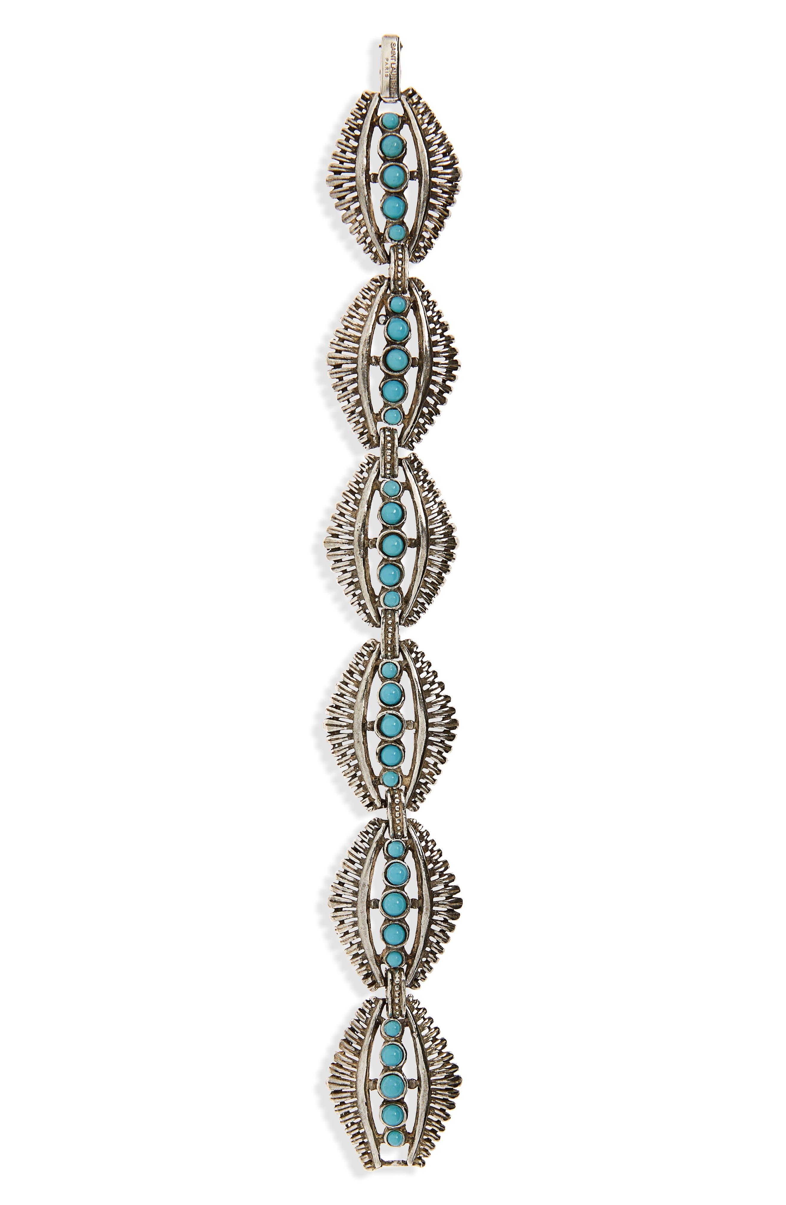 Mini Cabochon Bracelet, Main, color, ARGENT OXYDE/ TURQUOISE