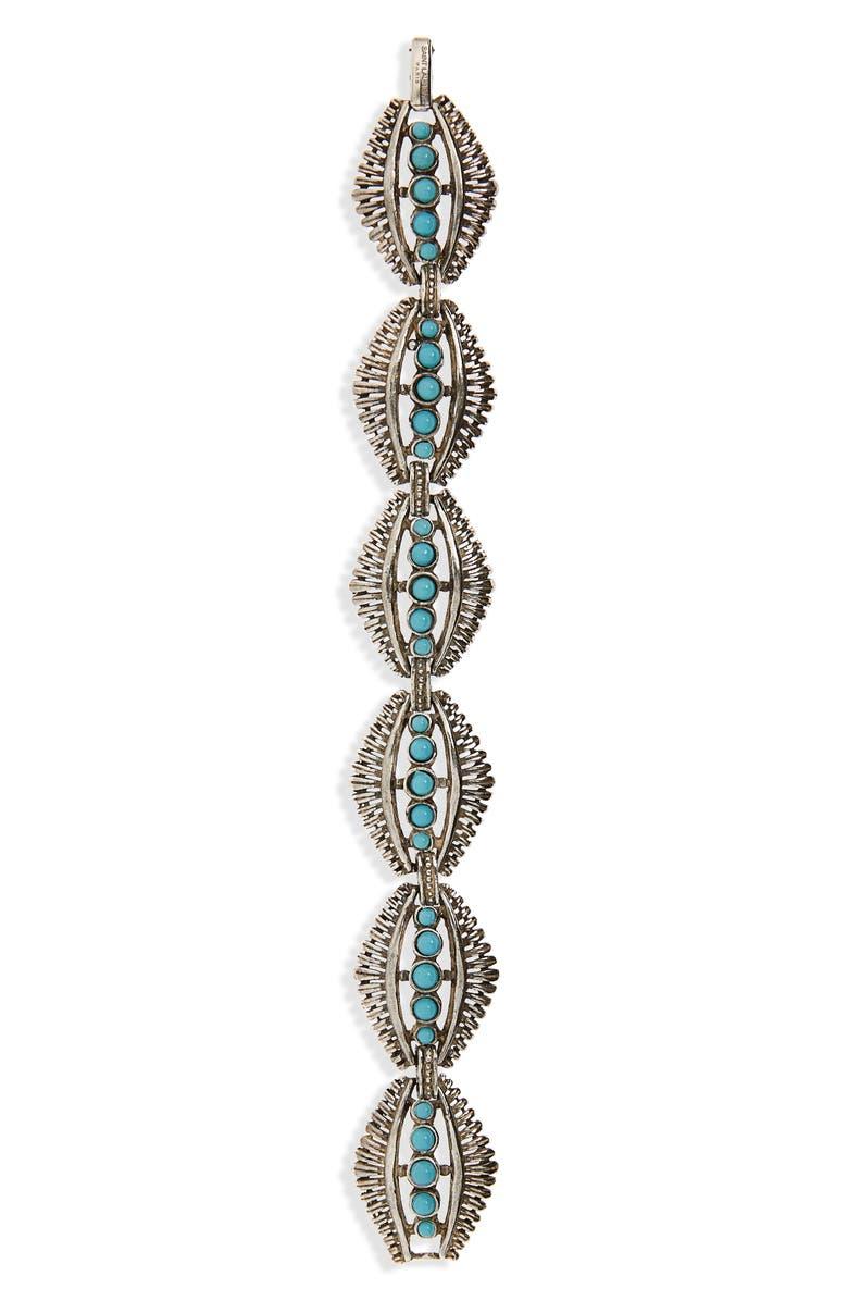 SAINT LAURENT Mini Cabochon Bracelet, Main, color, ARGENT OXYDE/ TURQUOISE