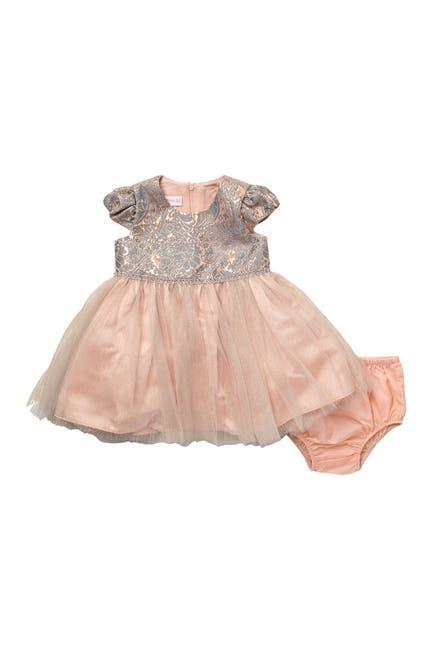 Image of GERSON & GERSON Metallic Jacquard 2-Piece Dress & Bloomers Set