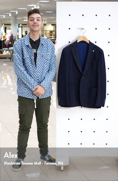 Trim Fit Plaid Stretch Cotton Blend Sport Coat, sales video thumbnail