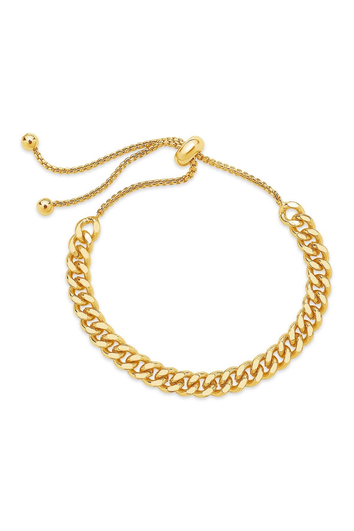 Sterling Forever Gold Plated Chain Link Bolo Bracelet