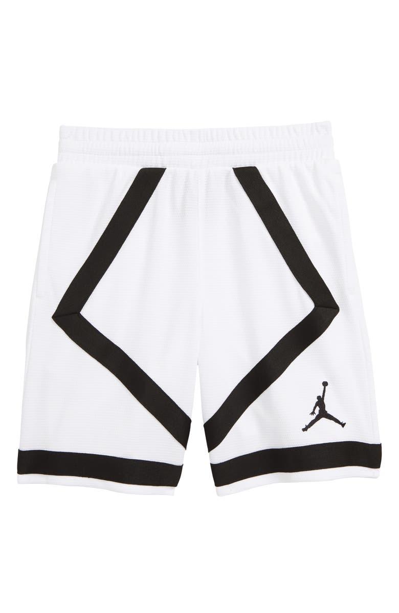 JORDAN Taped Basketball Shorts, Main, color, WHITE