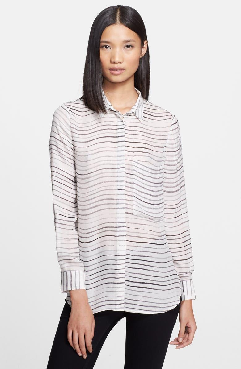 HAUTE HIPPIE Stripe Silk Blouse, Main, color, SWAN/ BLACK