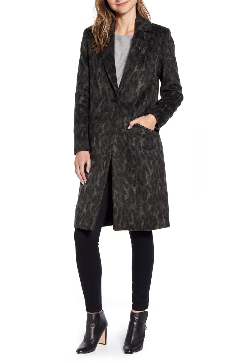 TED BAKER LONDON Illena Leopard Print Cocoon Coat, Main, color, KHAKI