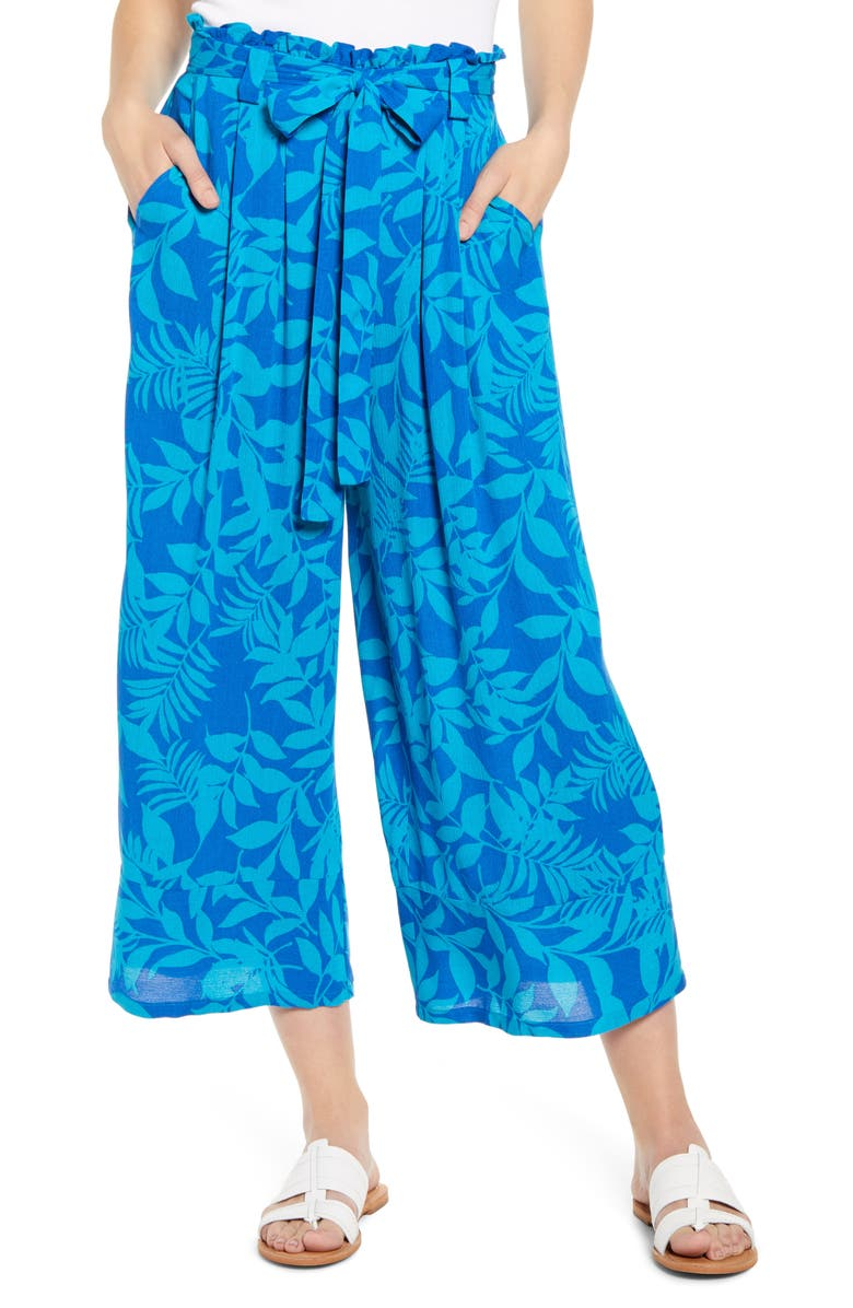 x Hi Sugarplum! Milos Wide Leg Paperbag Waist Pants, Main, color, BLUE LAGOON