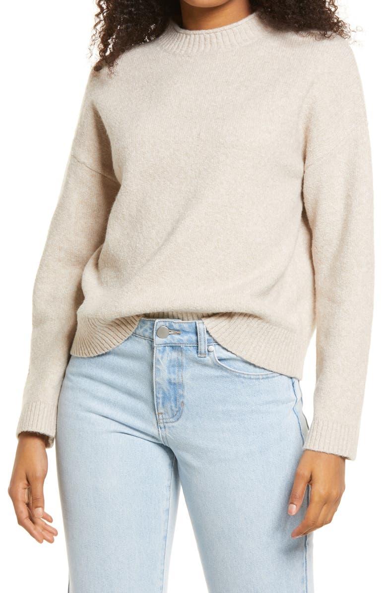 BP. Cozy Roll Crewneck Sweater, Main, color, BEIGE OATMEAL HEATHER