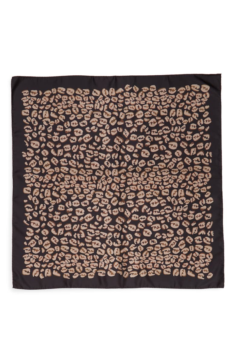 FENDI FF Splash Silk Scarf, Main, color, BLACK