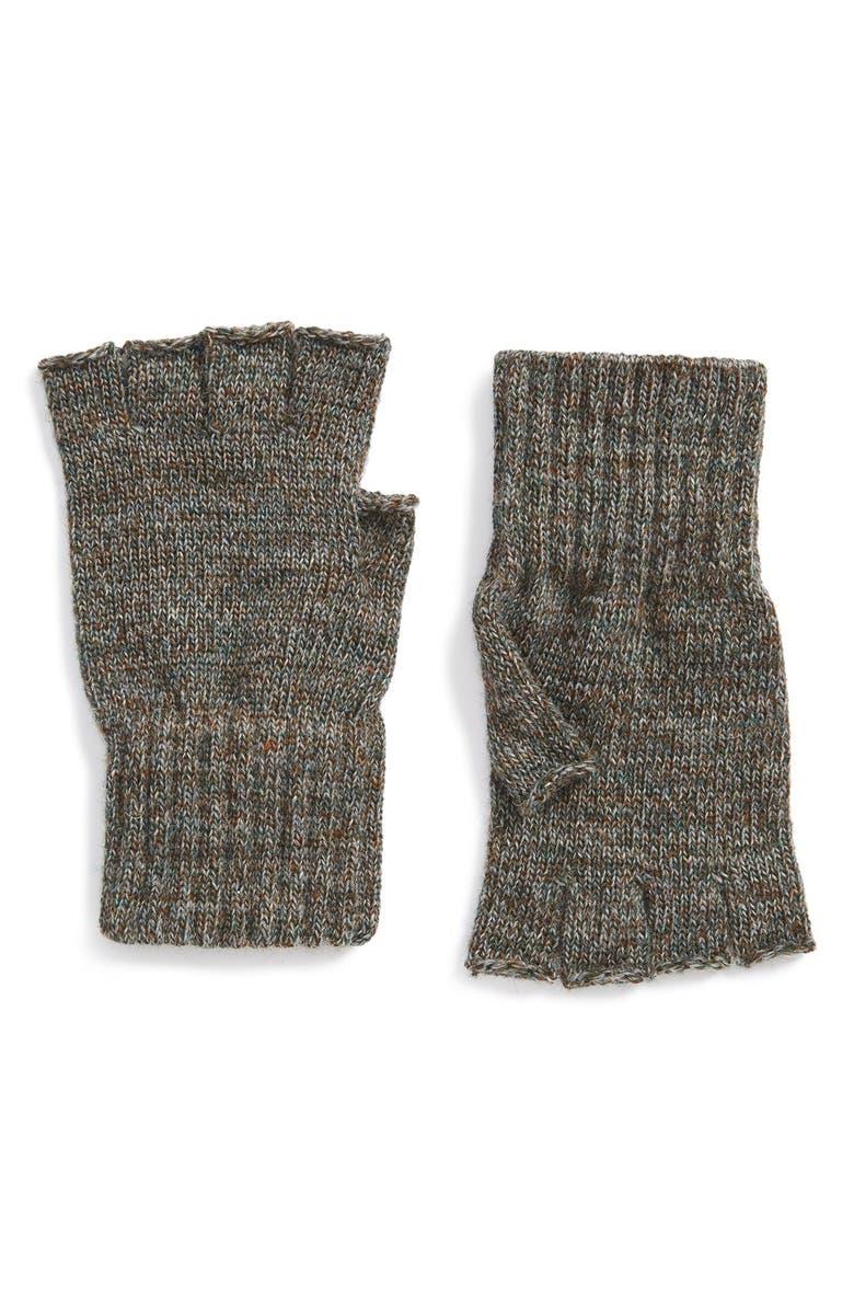 BARBOUR Fingerless Wool Gloves, Main, color, GREEN