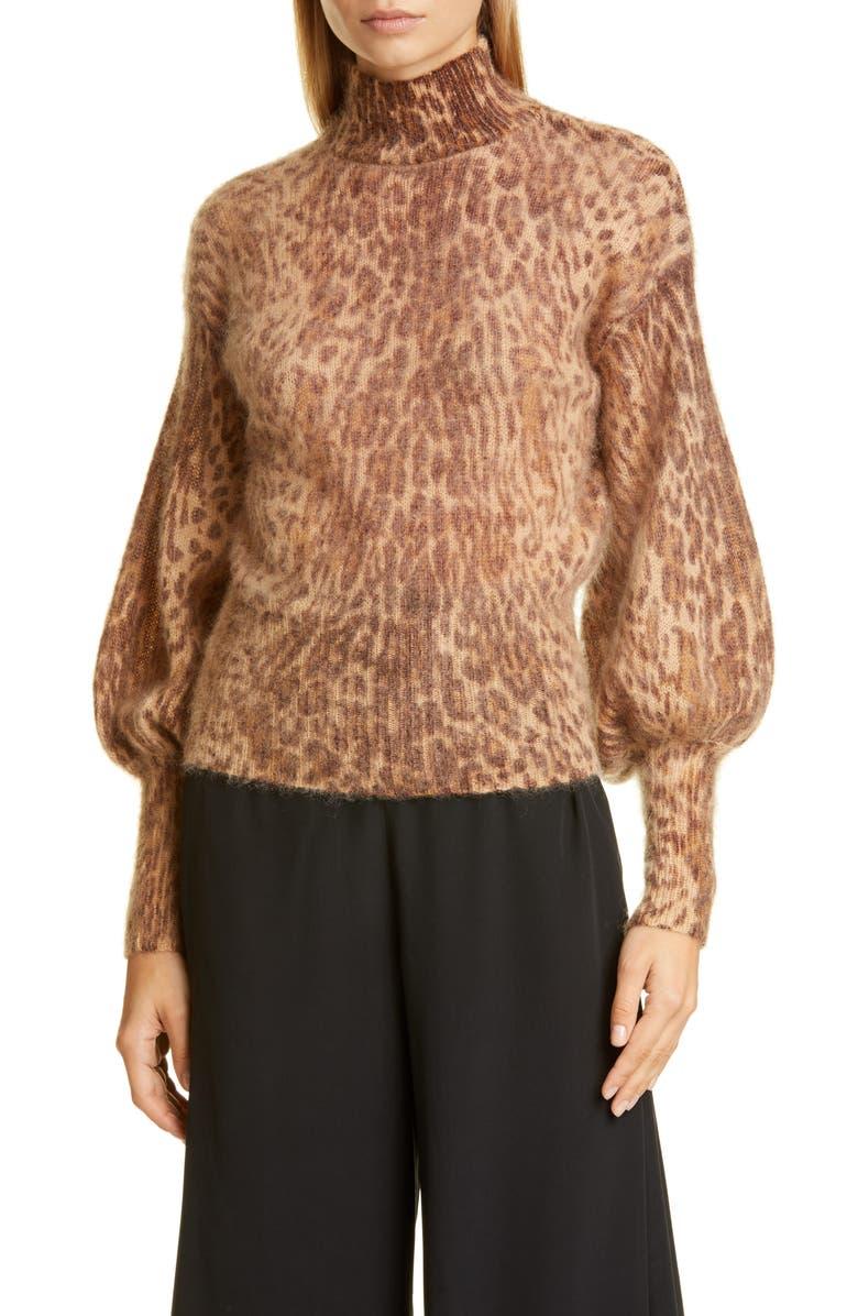 ZIMMERMANN Espionage Leopard Spot Bell Sleeve Mohair Blend Sweater, Main, color, ANIMAL