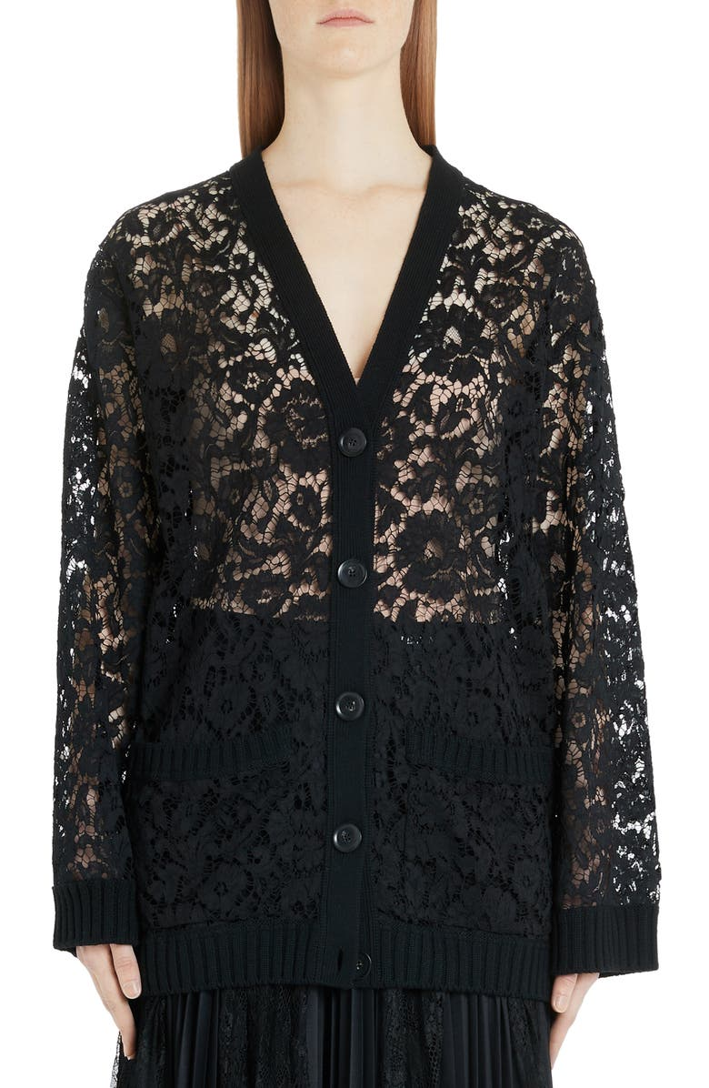 VALENTINO Oversized Wool Lace Cardigan, Main, color, 0NO-BLACK