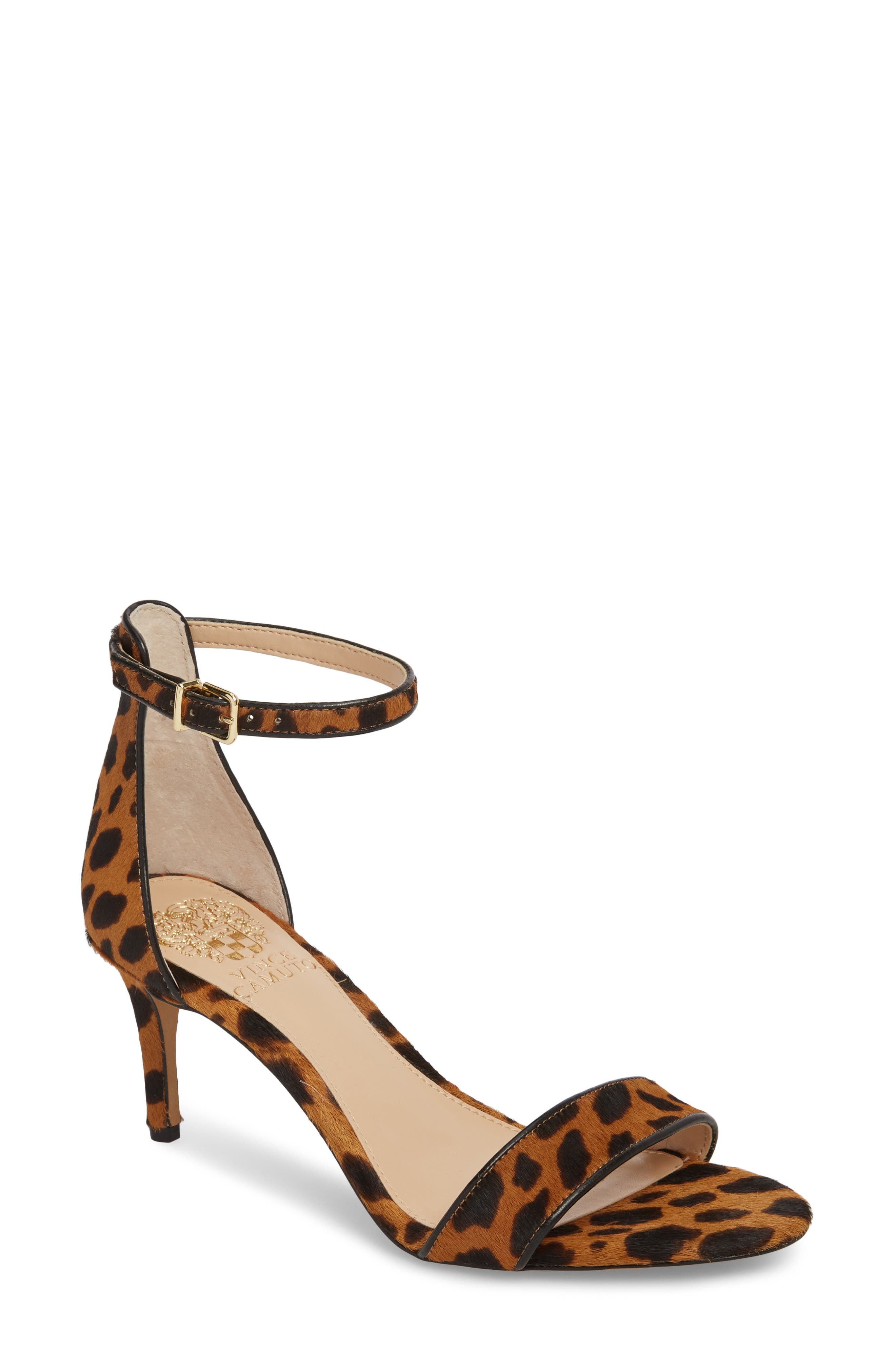 A slender heel adds just-right height to a barely there sandal topped with a dainty ankle strap. Style Name: Vince Camuto Sebatini Genuine Calf Hair Sandal (Women). Style Number: 5537278 1. Available in stores.